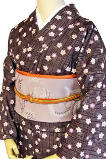 レンタル着物「縞に小桜」