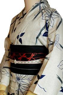 麻混上質浴衣レンタル「竹笹」