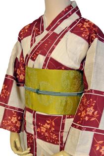 麻混上質浴衣レンタル「小花格子」