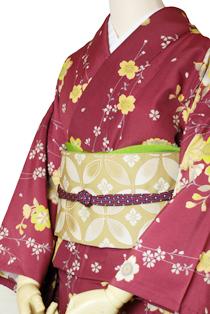 単衣レンタル着物「エンジ小桜」