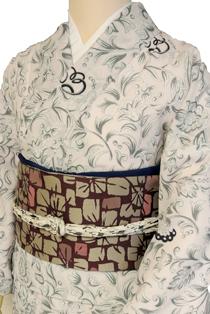 単衣レンタル着物「初夏の草花」