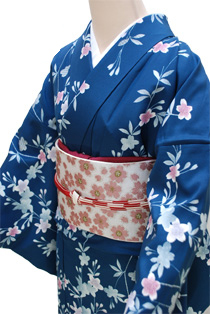 単衣レンタル着物「青緑小花」