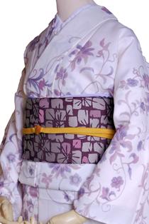 単衣レンタル着物「白地唐草」