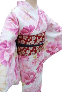 レンタル着物「大桜ピンク地」