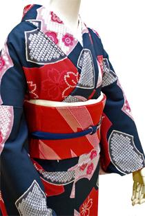 レンタル着物「扇面梅桜」