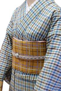 木綿のレンタル着物「爽やかチェック」