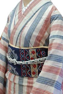 木綿のレンタル着物「トリコロールストライプ」