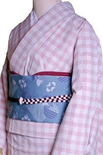 木綿のレンタル着物「格子柄」