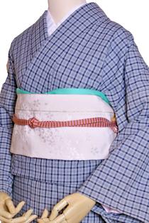 木綿のレンタル着物「グレーチェック」