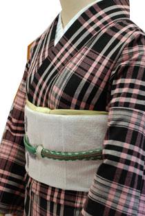 木綿のレンタル着物「ピンク黒チェック」