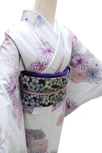 レンタル着物「菊灰紫」