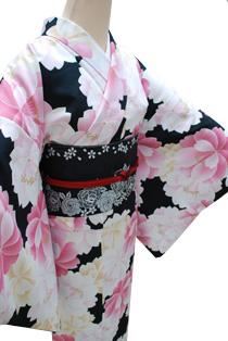 レンタル着物「大桜黒地」
