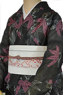 絽のレンタル着物「笹の葉」