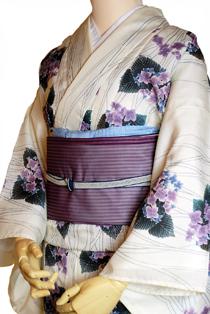 絽のレンタル着物「紫陽花柄」