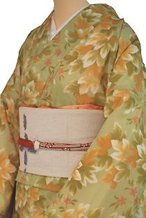 紗のレンタル着物「夏の葉柄」