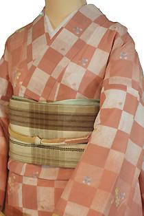 紗のレンタル着物「格子花柄」