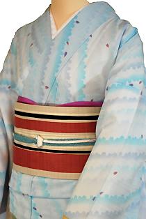 紗のレンタル着物「波紋花びら」