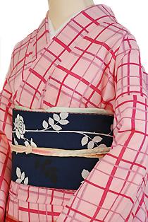 紗のレンタル着物「チェック格子」