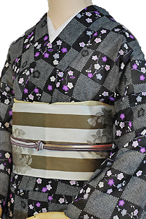 紗のレンタル着物「格子小桜」