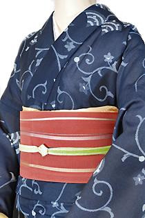 紗のレンタル着物「唐草柄」
