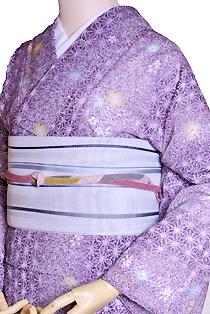 紗のレンタル着物「麻繋ぎ」