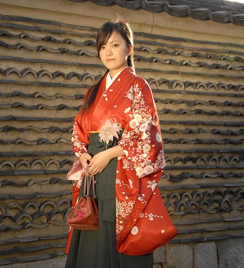 赤色の袴セットレンタル