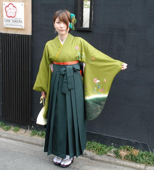 緑色袴レンタル