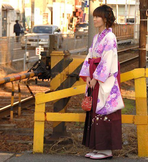 白地薄紫の着物袴セット