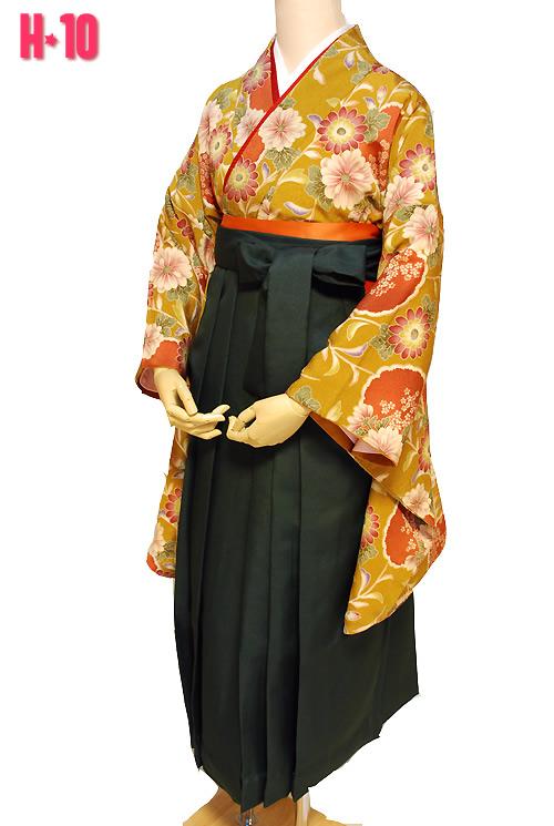 黄色系レトロ柄の卒業式袴