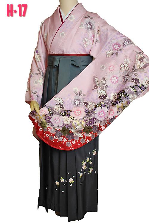 ピンク地の袴レンタル
