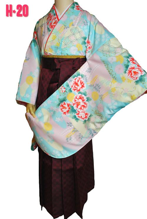 水色のアンティーク柄の袴レンタル