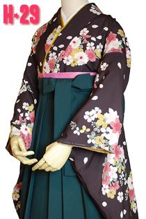 卒業式袴レトロモダンな花柄水色