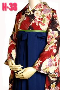 卒業式袴エンジ古典花柄