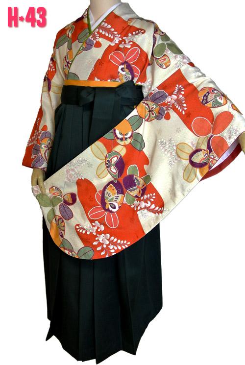 オレンジ色古典柄袴レンタル