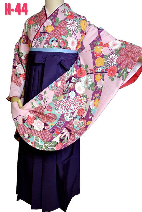 ピンク色アンティーク着物袴レンタル
