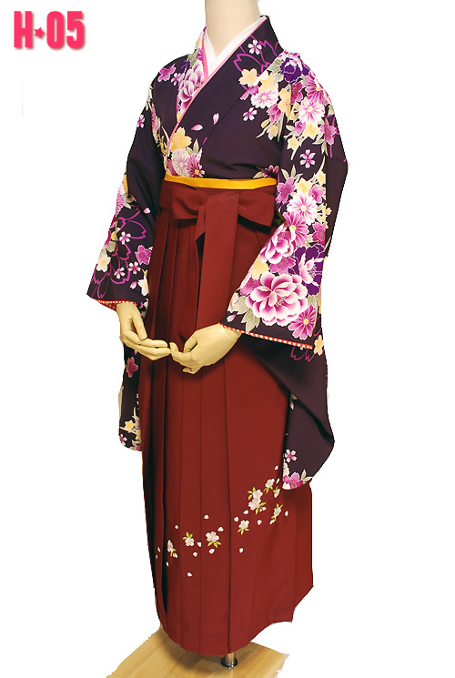紫色の着物袴セット